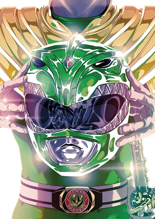 Green Ranger (Tommy Oliver) of the Mighty Morphin' Power Rangers helmet belt comics book art