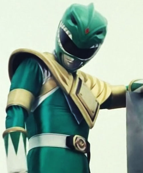 Green Ranger (Tommy Oliver) of the Mighty Morphin' Power Rangers low angle shot