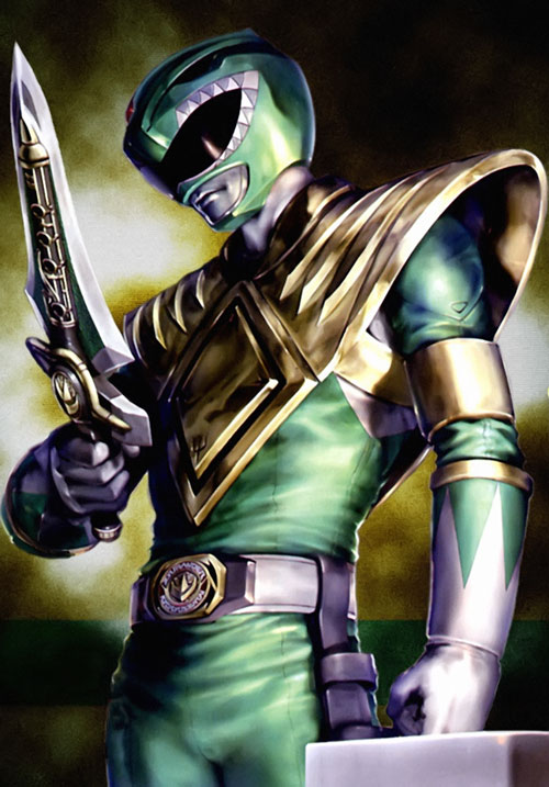 Green Ranger (Tommy Oliver) of the Mighty Morphin' Power Rangers comic book art with dagger