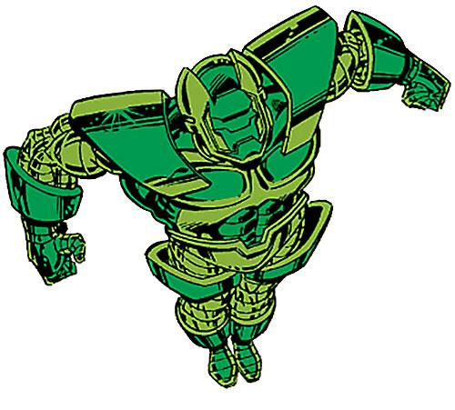 Gremlin in his Titanium Man armor (Marvel Comics) flying