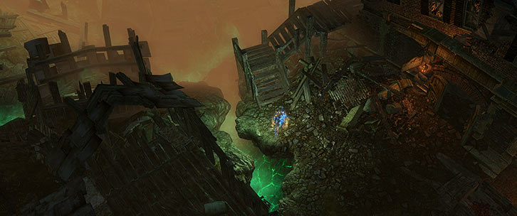 Grim Dawn - Game screenshot - Aether crevasse among the ruins of Malmouth