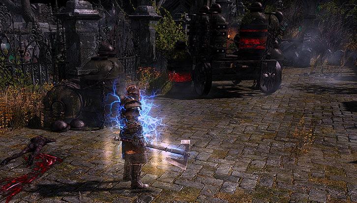 Grim Dawn - Game screenshot - Blood wagons in the Necropolis