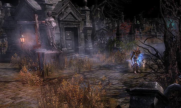 Grim Dawn - Game screenshot - Statuary in the Necropolis