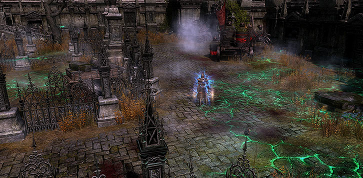 Grim Dawn - Game screenshot - Aetherfire and blood wagon in the Necropolis