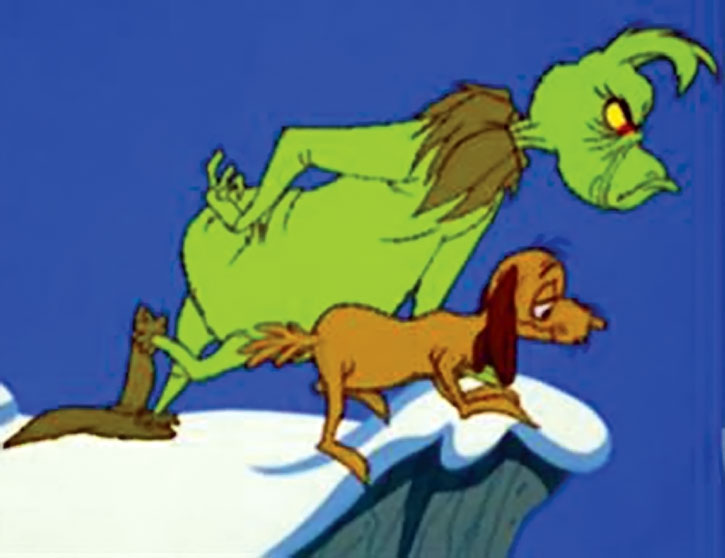 The Grinch and Max on a roof