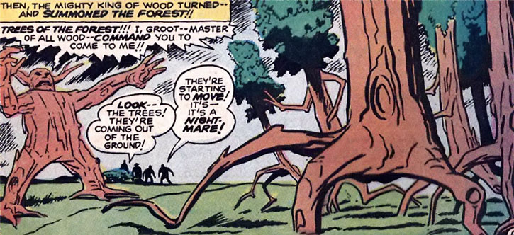 Groot makes a forest come to him