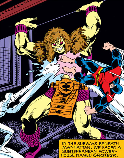 Grotesk (Marvel Comics) fights the X-Men Beast and Iceman
