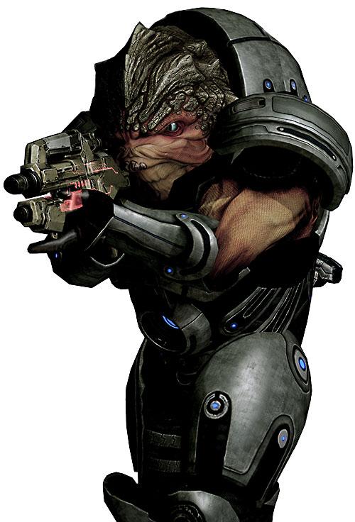Grunt (Mass Effect 2) aiming a Mattock rifle