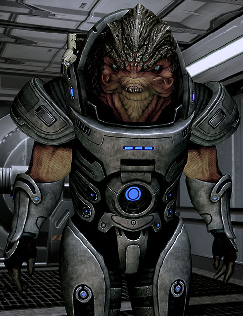 Grunt (Mass Effect 2) frowning