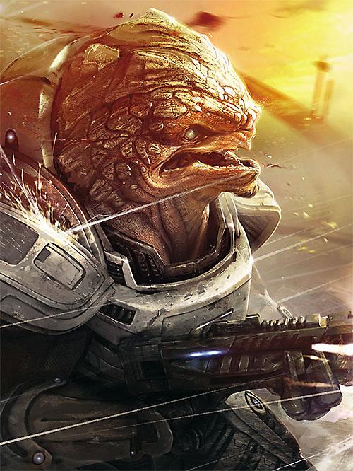 Grunt (Mass Effect 2) art, battle scene