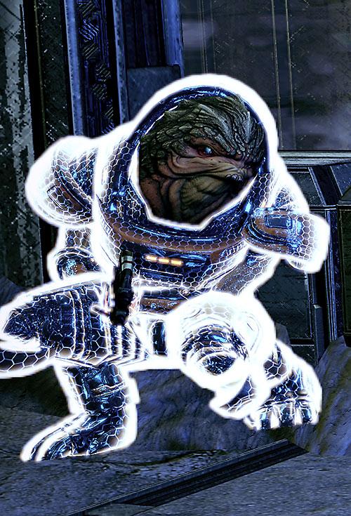 Grunt (Mass Effect 2) using a fortification module