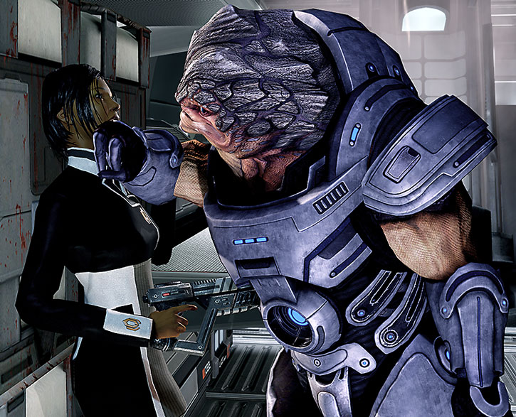 Grunt pins Commander Shepard by the throat