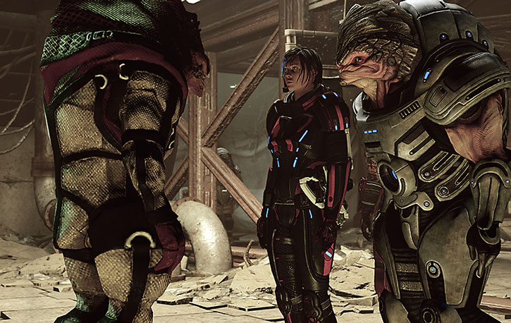 Grunt and Commander Shepard discuss with a Krogan shaman