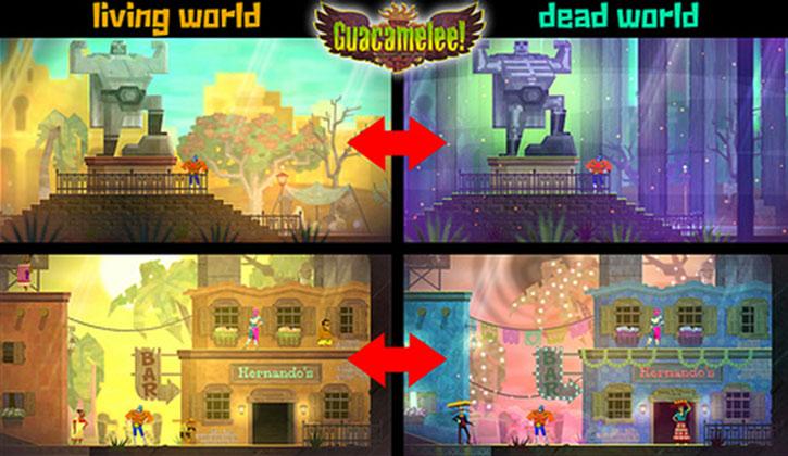 Switching between worlds in Guacamelee