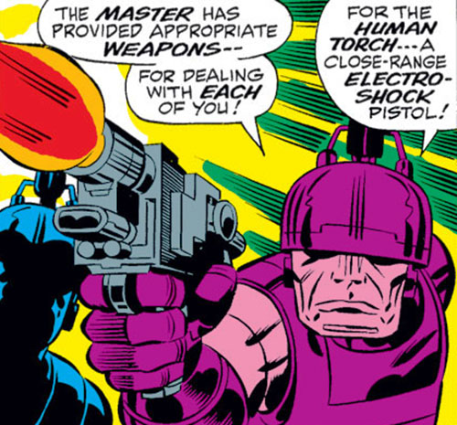 Doctor Doom's guardian robots (Marvel Comics) with an electro-shock pistol