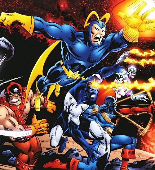 Guardians of the Galaxy team (original Marvel Comics version) attacking