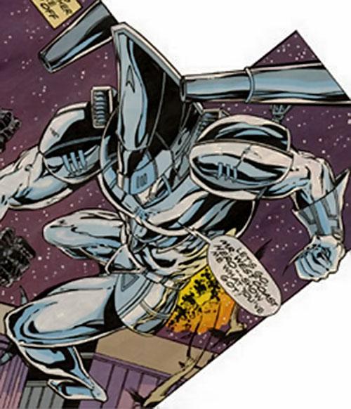 Gunship power armor in the air (Marvel Comics)