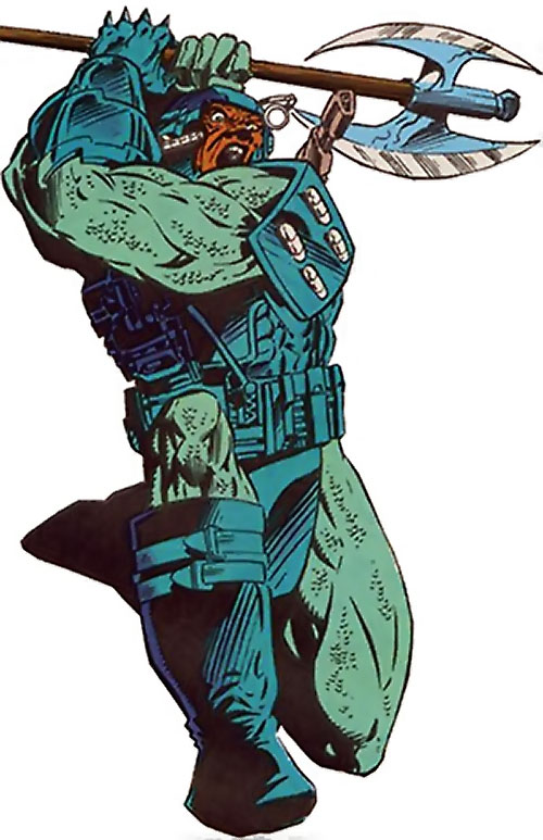 Gunshot of the Extremists (JLA enemy) ( DC Comics) brandishing his axe