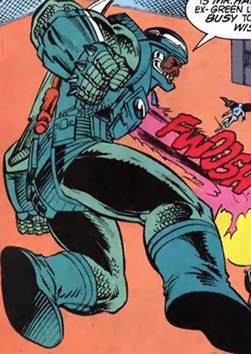 Gunshot of the Extremists (JLA enemy) ( DC Comics) firing his chest ray