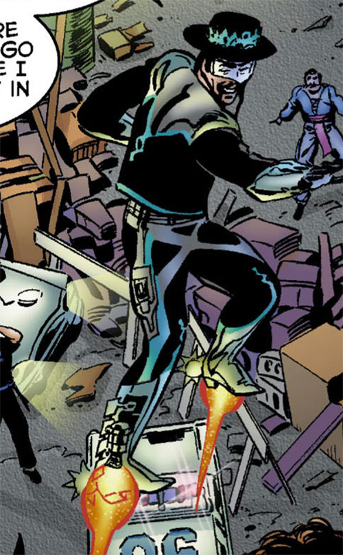 Gunslinger (Astro City comics) flying over a police block