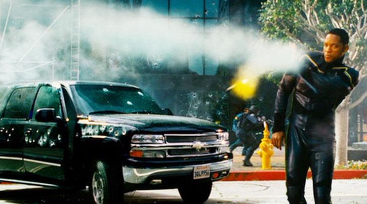 Hancock (Will Smith) deflects a rocket