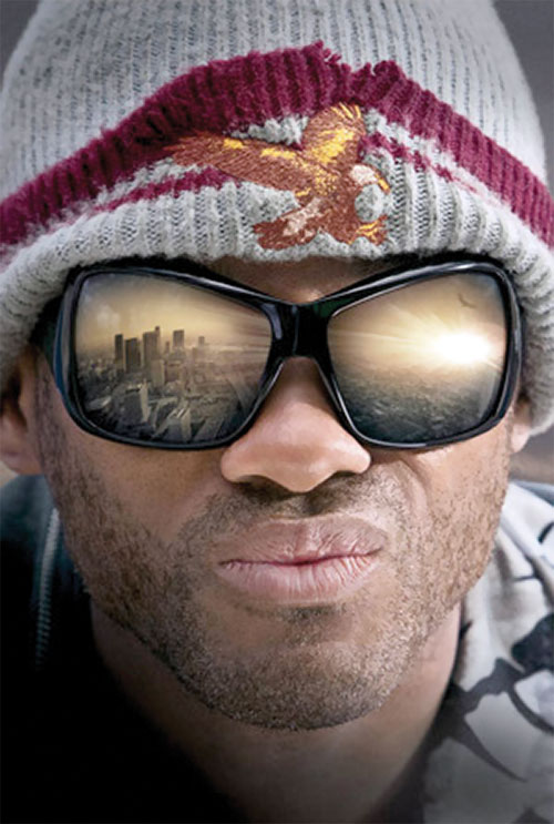 Hancock (Will Smith) face closeup with mirrorshades