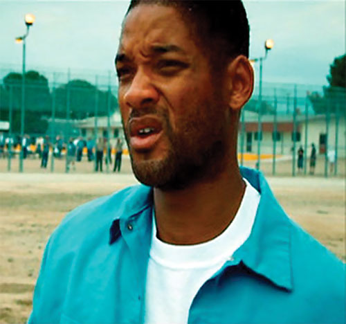 Hancock (Will Smith) drunk in a teal shirt