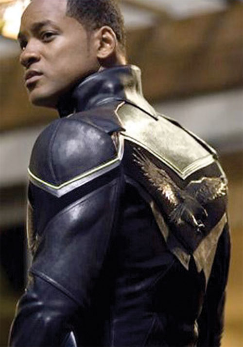 Hancock (Will Smith) in costume - eagle on the back