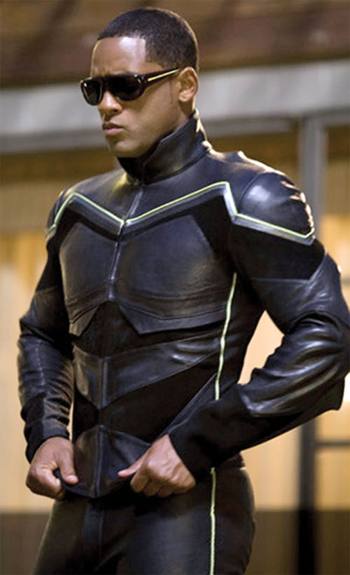 Hancock (Will Smith) in costume with shades