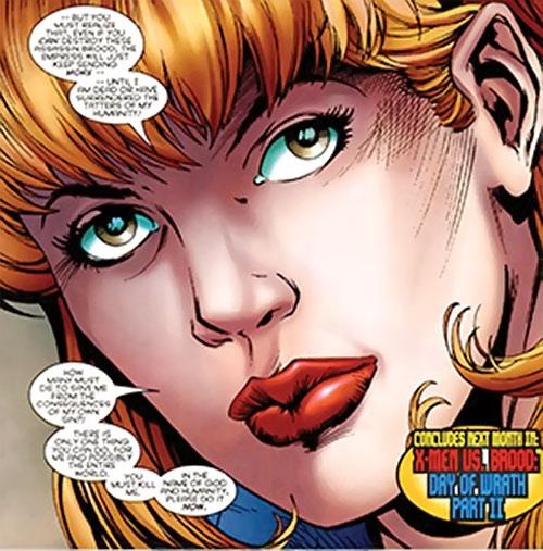 Brood Queen Hannah Connover (X-Men character) (Marvel Comics) talky face closeup