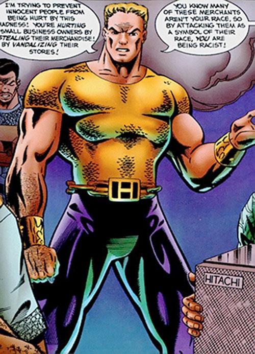 Hardcase (Malibu Ultraverse comics) addressing a rioting crowd