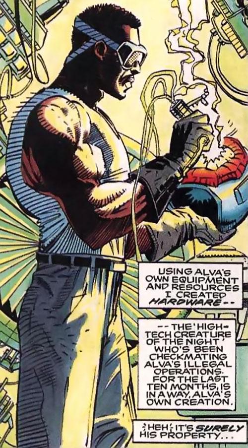 Hardware (Milestone Comics) soldering his helmet
