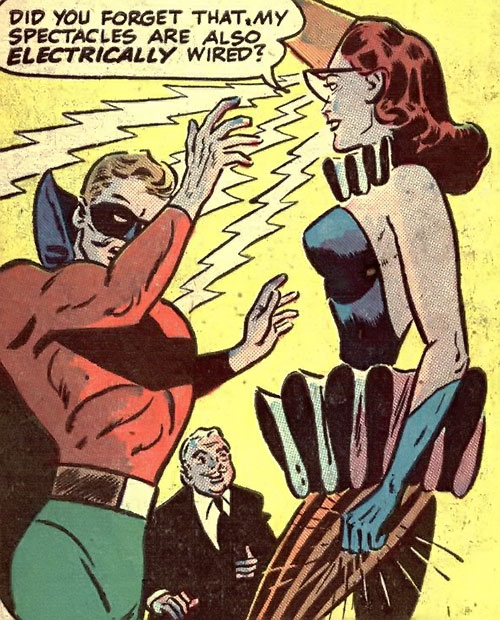Harlequin (Molly Maynne) shocks Green Lantern with her spectacles