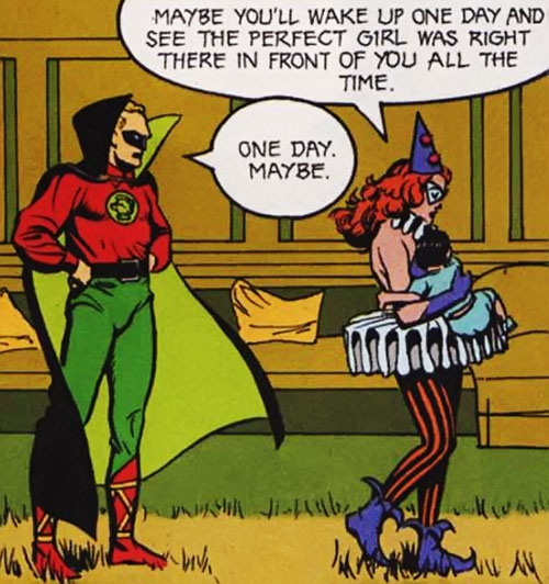 Harlequin walks away from Green Lantern with a baby