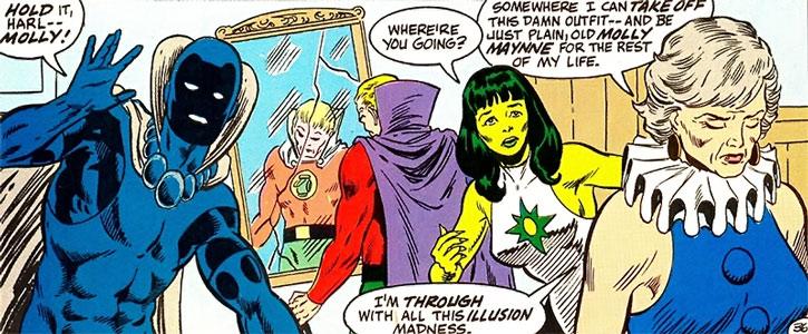 Harlequin, Green Lantern, Jade and Obsidian
