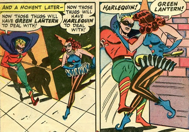 Harlequin (Molly Maynne) and Green Lantern (Alan Scott) bump into each other