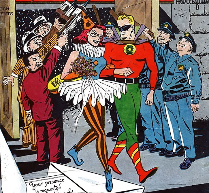 Harlequin (Molly Maynne) attempts to marry Green Lantern (Alan Scott)