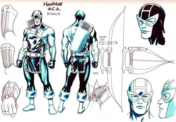 Hawkeye (Clint Barton) character design sheet by David Lopez