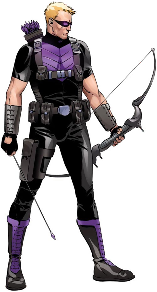 Hawkeye (Marvel Comics) in the black and purple 2010s costume