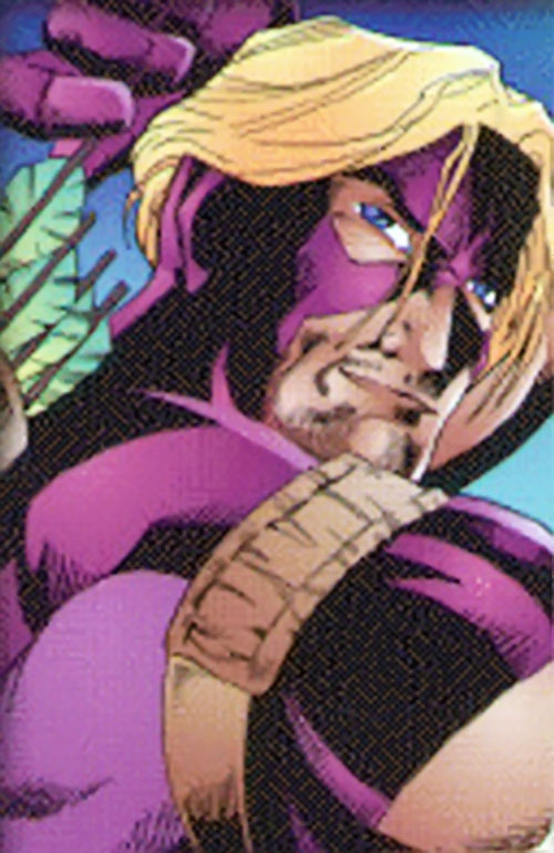 Hawkeye (Marvel Comics) during the 1990s, purple costume with exposed hair
