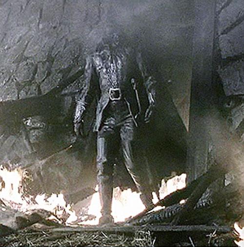 The Headless Horseman among ruins in Burton's Sleepy Hollow