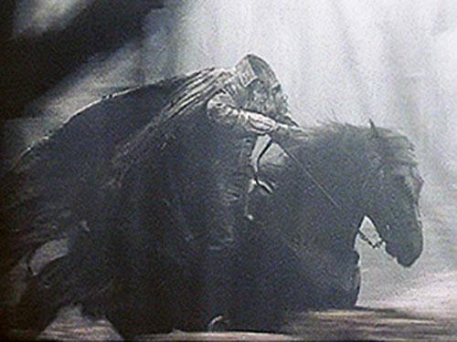 The Headless Horseman gallopping in Burton's Sleepy Hollow