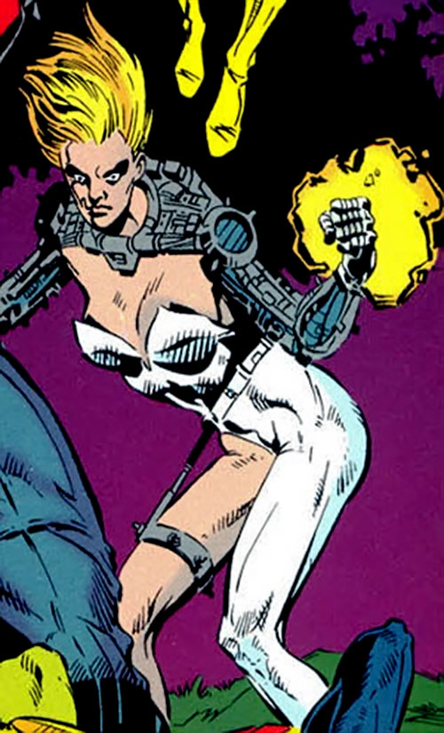 Heatmonger of the Aryan Brigade / Cadre (JLA enemy) ( DC Comics) with her fist burning