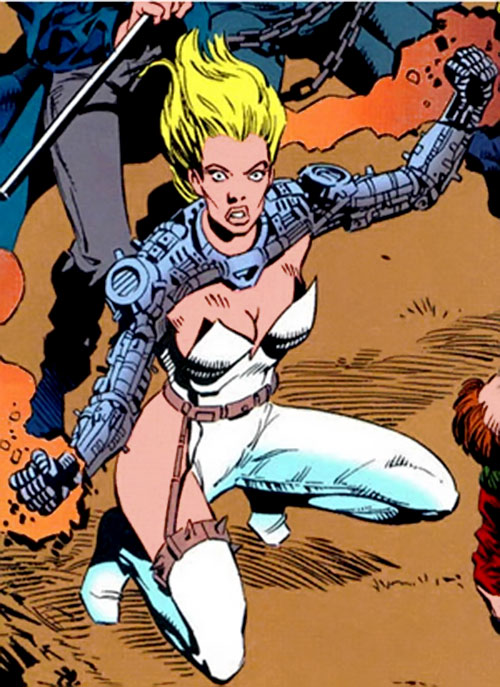 Heatmonger of the Aryan Brigade / Cadre (JLA enemy) ( DC Comics) crouching