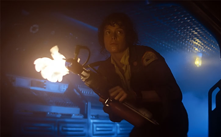 Helen Ripley (Sigourney Weaver) with an improvised flamethrower