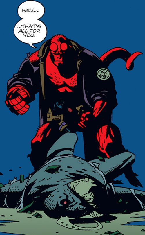 Hellboy (Dark Horse Comics by Mike Mignola) with a knocked out reptilian humanoid