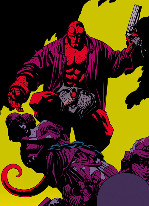 Hellboy (Dark Horse Comics by Mike Mignola) with his pistol over a bloodied statue