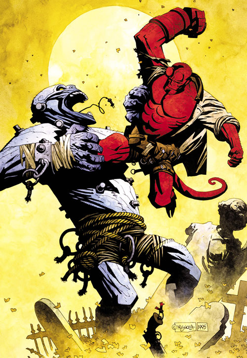 Hellboy (Dark Horse Comics by Mike Mignola) fighting a giant humanoid monster construct