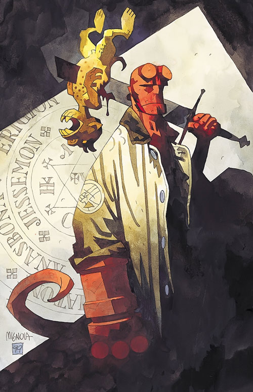Hellboy (Dark Horse Comics by Mike Mignola) with a small creature impaled on a broken sword