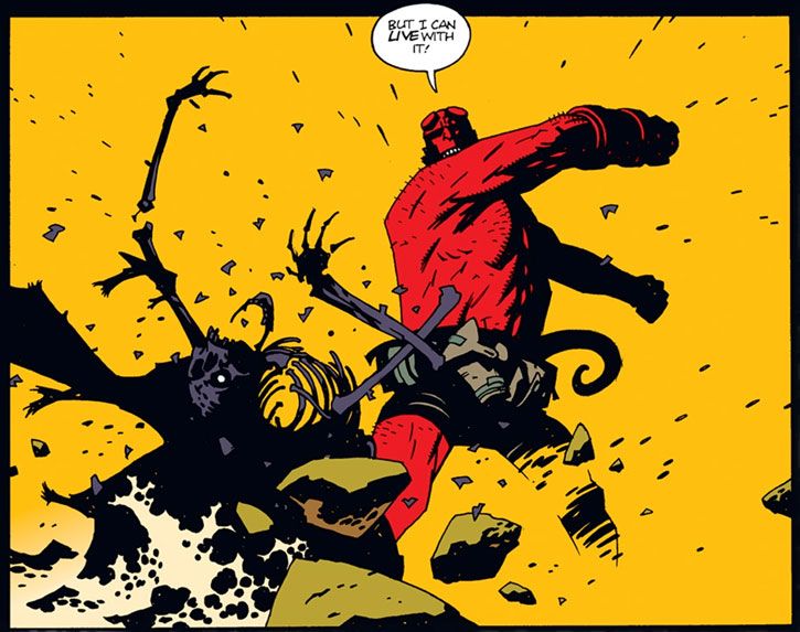 Hellboy (Dark Horse Comics by Mike Mignola) smashes the undead